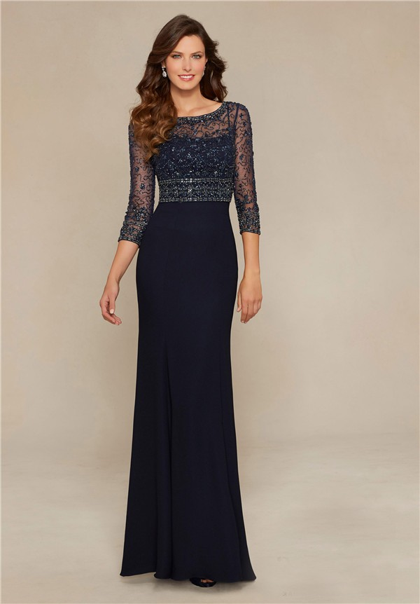 Sheath Boat Neck Navy Blue Chiffon Beaded Evening Dress Three ...