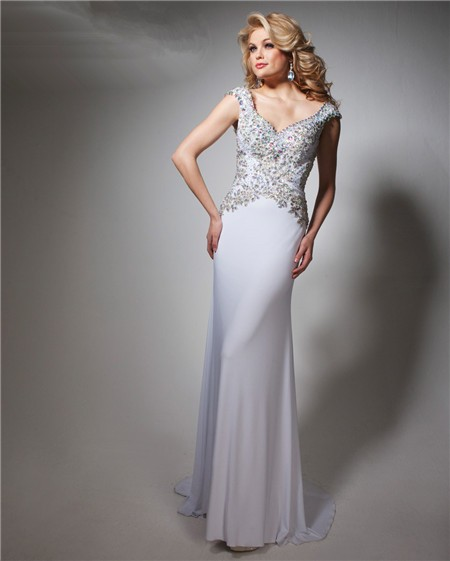 sheath v neck cap sleeve long white chiffon beaded prom dress open