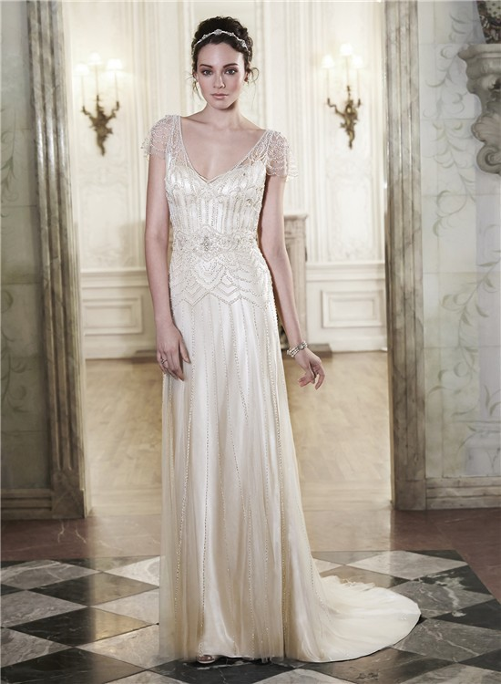 Gorgeous Sheath Column V Neck Long Sleeve Wedding Dresses : Gorgeous sheath v neck open back champagne satin tulle beaded wedding