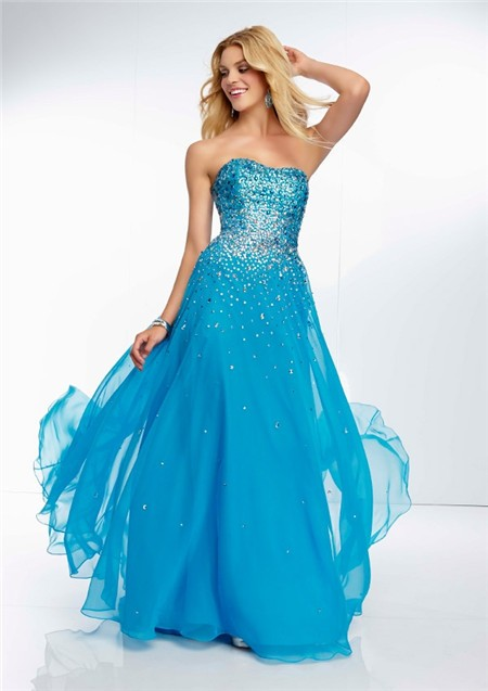 Sparkly Sky Blue Prom Dresses - Long Dresses Online