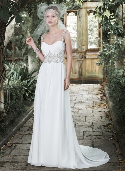 Gorgeous Sweetheart Open Back Chiffon Beaded Destination