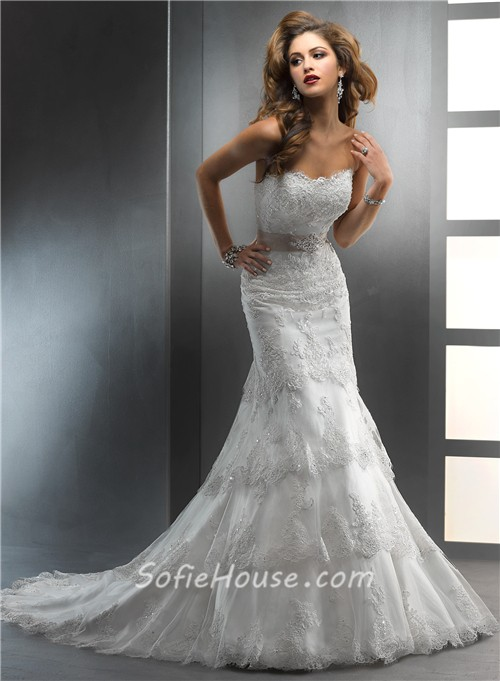 Gorgeous trumpet mermaid strapless tiered beaded lace for Beaded lace mermaid wedding dress
