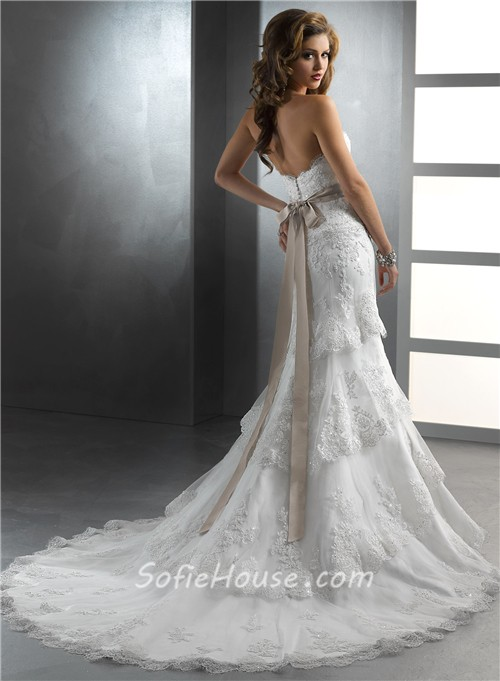 gorgeous trumpet mermaid strapless tiered beaded lace