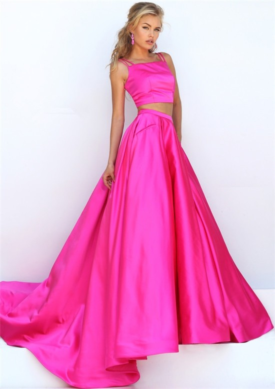 Gorgeous Two Piece Hot Pink Silk Satin Prom Dress With Spaghetti ...