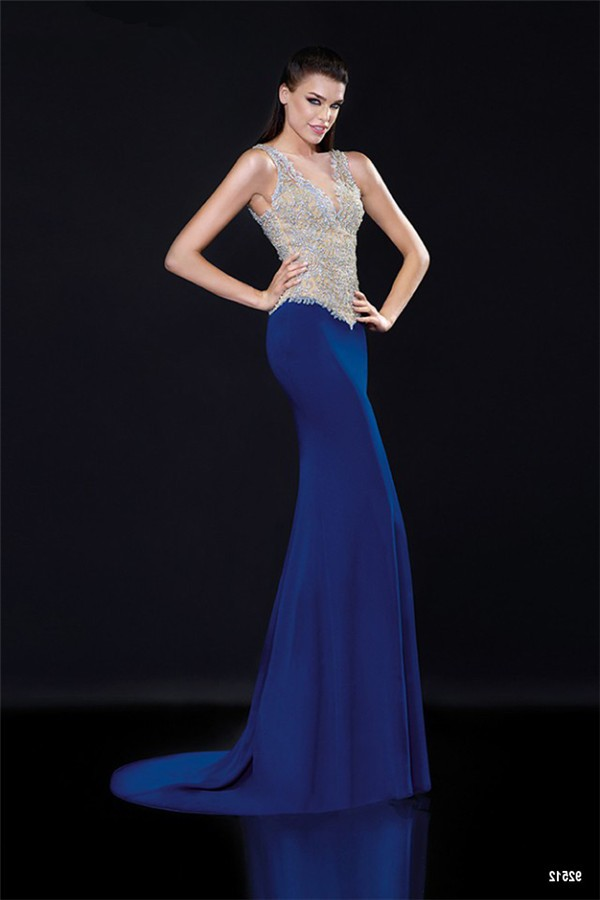 85573c9bb6d0c Gorgeous V Neck Sleeveless Illusion Back Royal Blue Satin Tulle ...