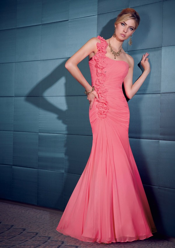 8f89b114cd2 Graceful Mermaid One Shoulder Watermelon Chiffon Ruched Evening Dress With Flowers  Strap