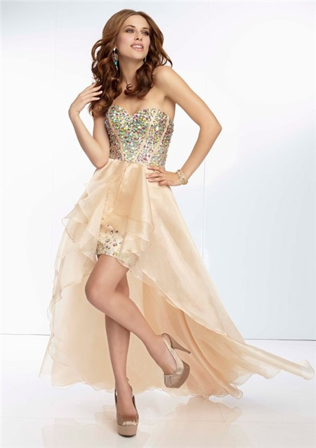 502898be895 High Low Sweetheart Neckline Nude Champagne Organza Corset Beaded Prom Dress