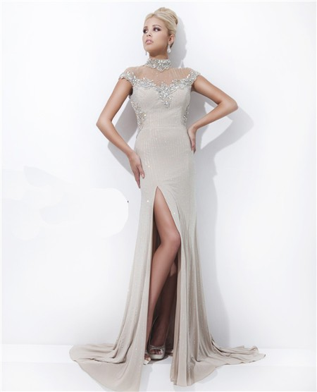 High Neck Cap Sleeve Backless Long Beige Chiffon Tulle