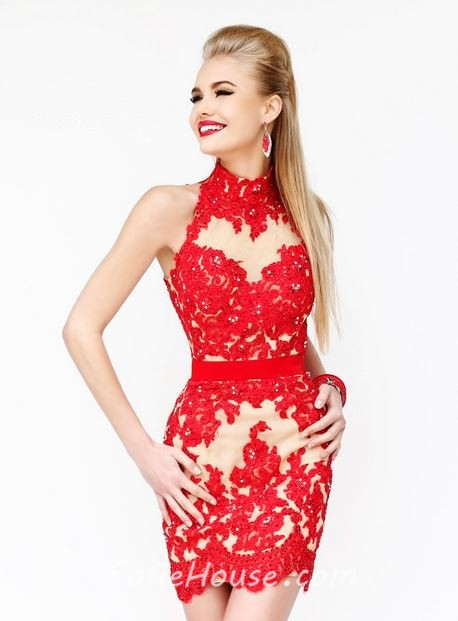 High Neck Keyhole Open Back Short Mini Red Lace Cocktail Prom ...