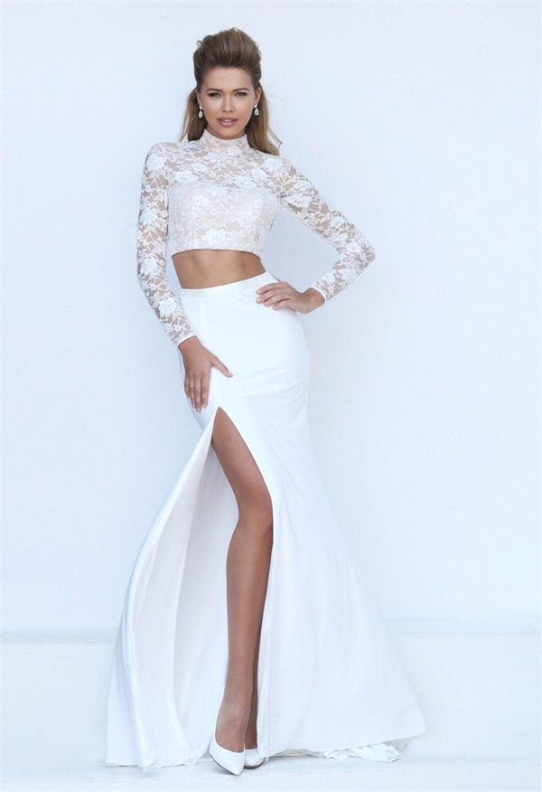 95db5075f7 High Neck Open Back Long Sleeve Two Piece White Lace Evening Prom Dress  With Slit