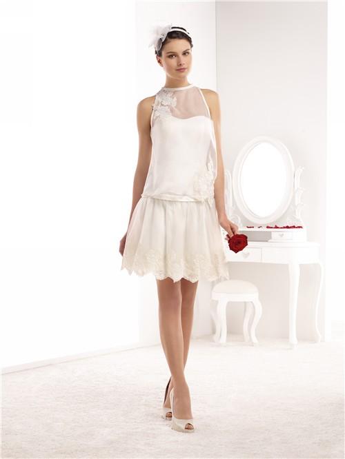 High neck sleeveless short mini lace chiffon casual for Short mini wedding dresses
