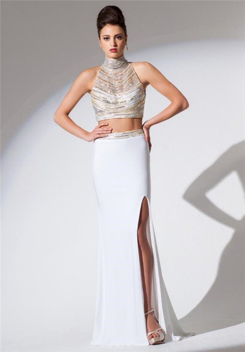 High Neck Two Piece White Chiffon Beaded Sequin Long Evening Prom ...