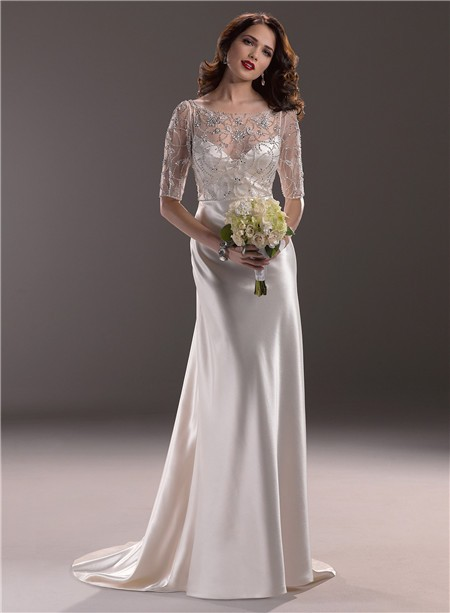 Hollywood Glamour Sheath Sweetheart Satin Wedding Dress With Short ...