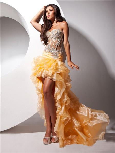 Hot Fashion Sweetheart High Low Orange Organza Sheer