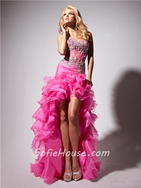 427263a3f73 Hot Fashion Sweetheart High Low Orange Organza Sheer Corset Prom Dress With Beading  Ruffles