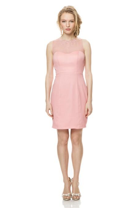 Illusion Beaded Neckline Keyhole Back Short Blush Pink