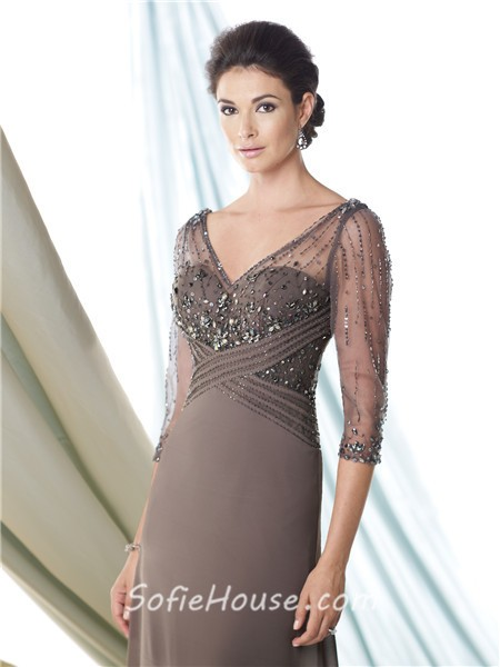 Illusion V Neck Grey Chiffon Beaded Sleeve Mother Of The Bride ...