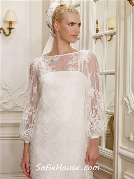 Informal boat neckline long sleeve vintage lace mini for Informal lace wedding dress