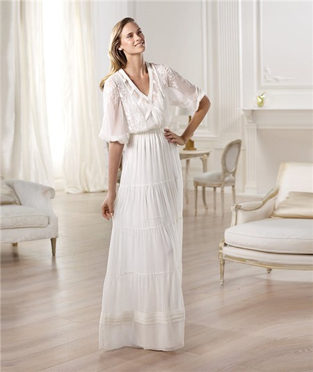 Informal casual sheath v neck short sleeve chiffon garden for Long sleeve casual wedding dresses