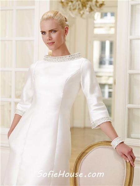 Informal High Neck 3 4 Sleeve Satin Beaded Crystal Short Modest Wedding Dress Sale