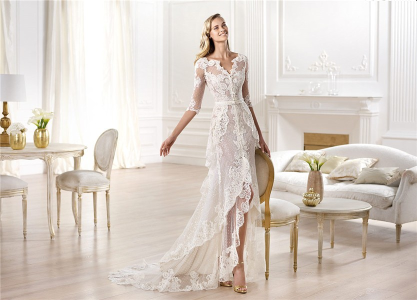 Informal Sheath V Neck High Low Front Slit Lace Wedding Dress With Sleeve 83d6920b0