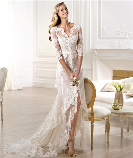 Sheath V Neck High Low Front Slit Lace Wedding Dress With Sleeve