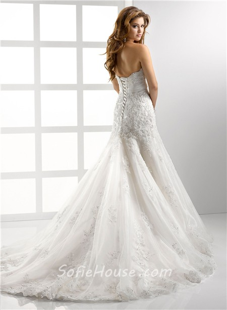 Latest Trumpet Mermaid Empire Strapless Lace Wedding Dress With Crystal Sequins