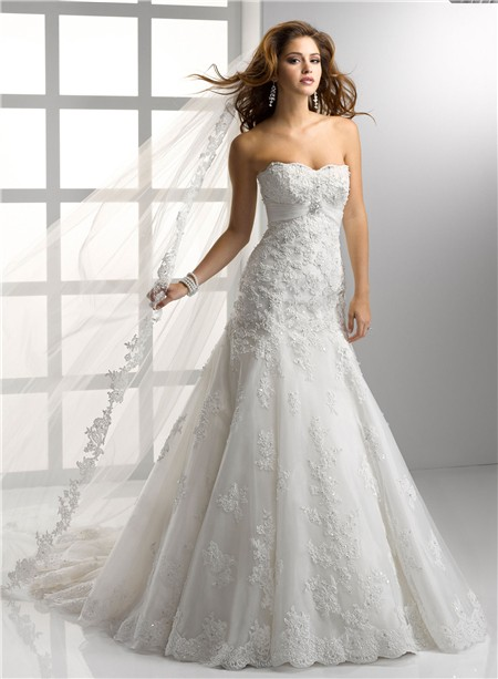 Trumpet/ Mermaid Empire Strapless Lace Wedding Dress With Crystal ...