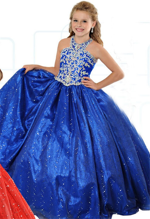 f9b35b0d5c9 Lovely Ball Gown Halter Royal Blue Organza Beaded Girl Party Prom Dress