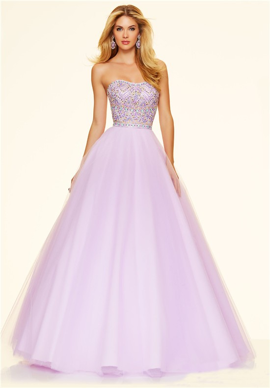 Lovely Ball Gown Strapless Lilac Satin Tulle Beaded Prom Dress