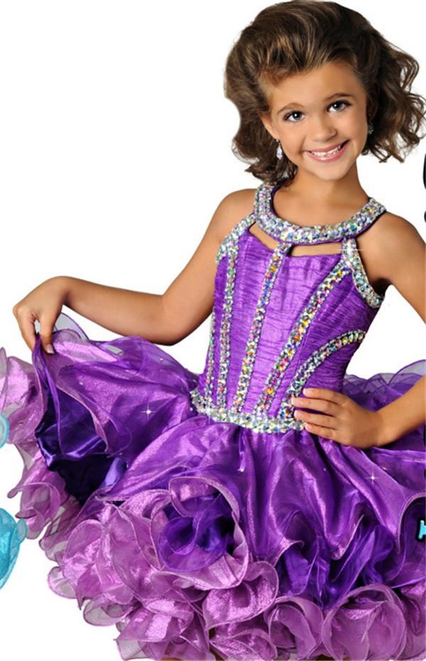 lovely halter short purple organza ruffle beaded tutu girl