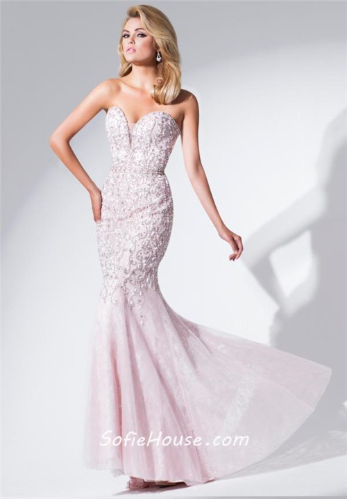Luxury Mermaid Plunging Sweetheart Neckline Light Pink Tulle Beaded ...