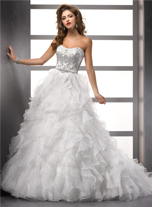 Ball Gown Strapless Organza Ruffle Wedding Dress With Beading ...
