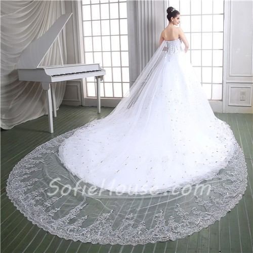 Luxury ball gown corset back heavy beaded crystal wedding for Wedding dress long train