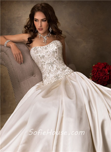 Luxury ball gown strapless champagne satin beaded crystal for Jewelry for champagne wedding dress