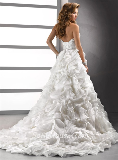 Luxury ball gown sweetheart crystals beading floral for Wedding dresses with crystals beading