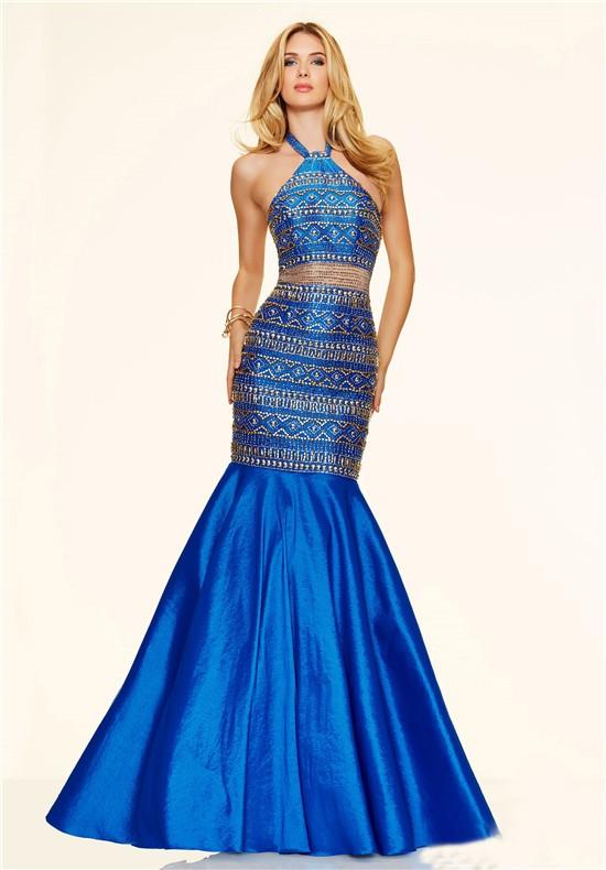 luxury mermaid halter see through royal blue taffeta beaded prom dress