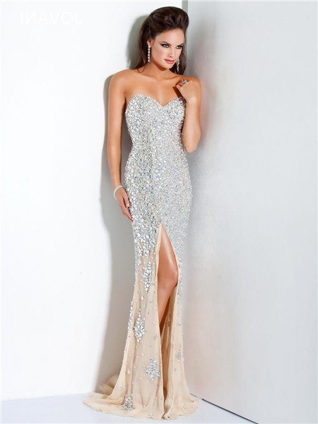 luxury mermaid strapless champagne chiffon heavy beaded