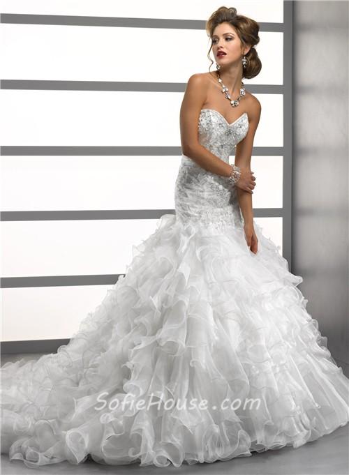 Luxury Trumpet/ Mermaid Sweetheart Crystals Beading Organza Wedding ...