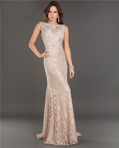 Mermaid Backless Long Champagne Lace Beaded Evening Prom Dress