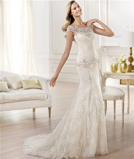Mermaid Bateau Illusion Neckline Cap Sleeve Lace Wedding