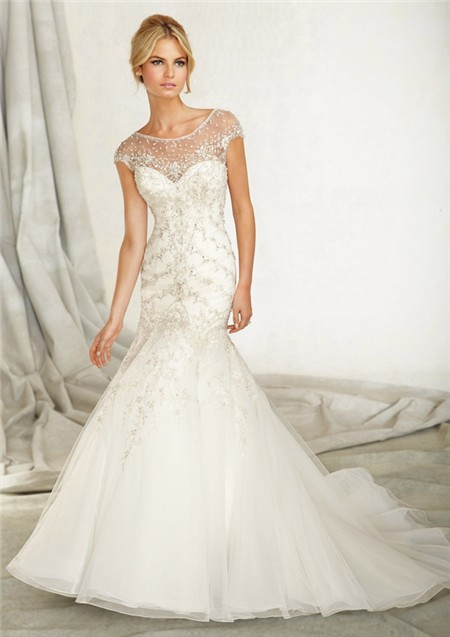 Mermaid bateau illusion neckline cap sleeve v back organza for Beaded lace mermaid wedding dress