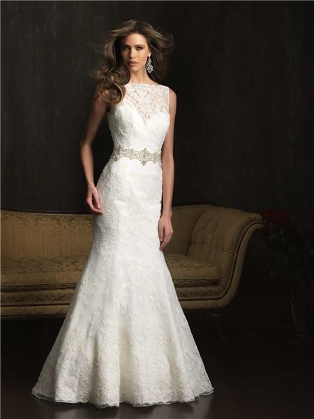 Mermaid bateau neck v back vintage lace wedding dress with for Belt for lace wedding dress