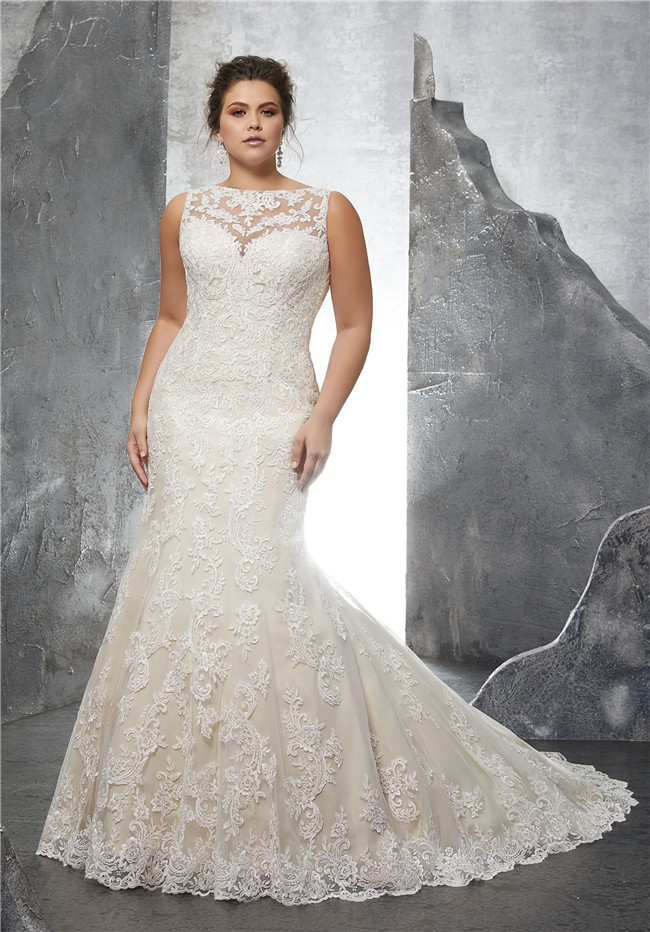 Mermaid bateau neckline sleeve champagne satin lace plus for Plus size wedding dresses with color and sleeves