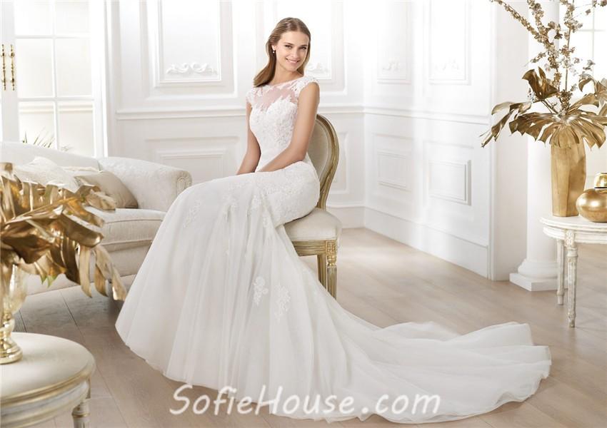 c6292d41070 Mermaid Bateau Sheer Illusion Neckline Cap Sleeve Tulle Lace Beaded Wedding  Dress