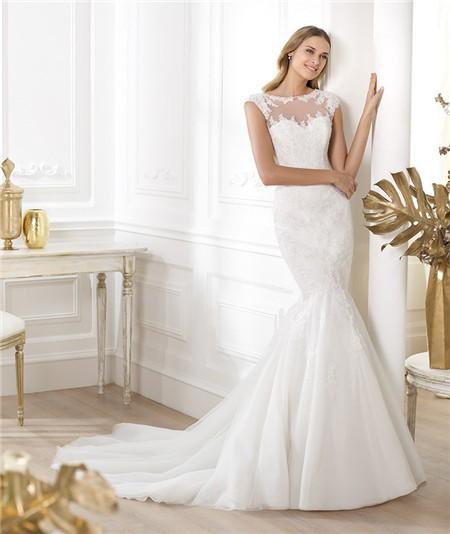 Mermaid bateau sheer illusion neckline cap sleeve tulle for Wedding dresses with sheer illusion neckline