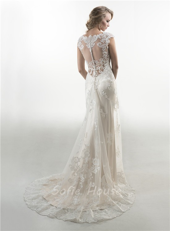 Mermaid cap sleeve illusion back tulle lace wedding dress for Lace button back wedding dress