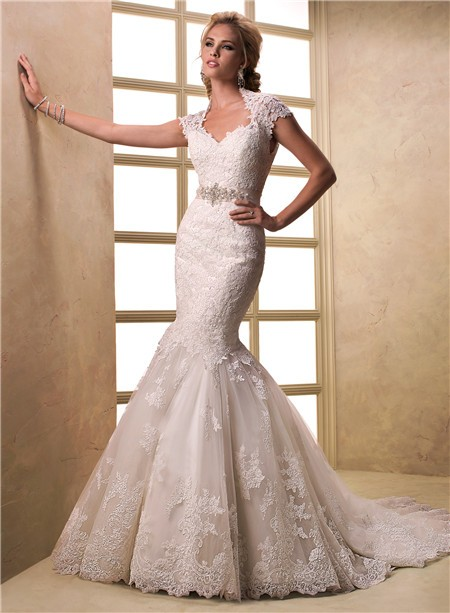 Cap Sleeve Keyhole Open Back Lace Wedding Dress With Crystal Sash