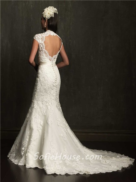 Mermaid cap sleeve scalloped neck open back lace wedding for Lace wedding dresses open back
