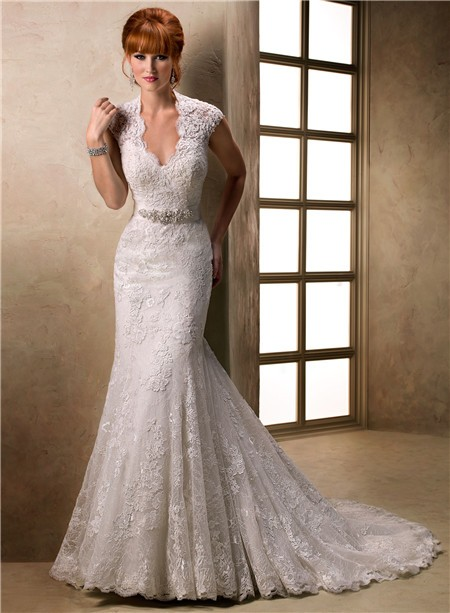 Mermaid Cap Sleeve Scalloped V Neck Keyhole Back Lace Wedding Dress With Belt